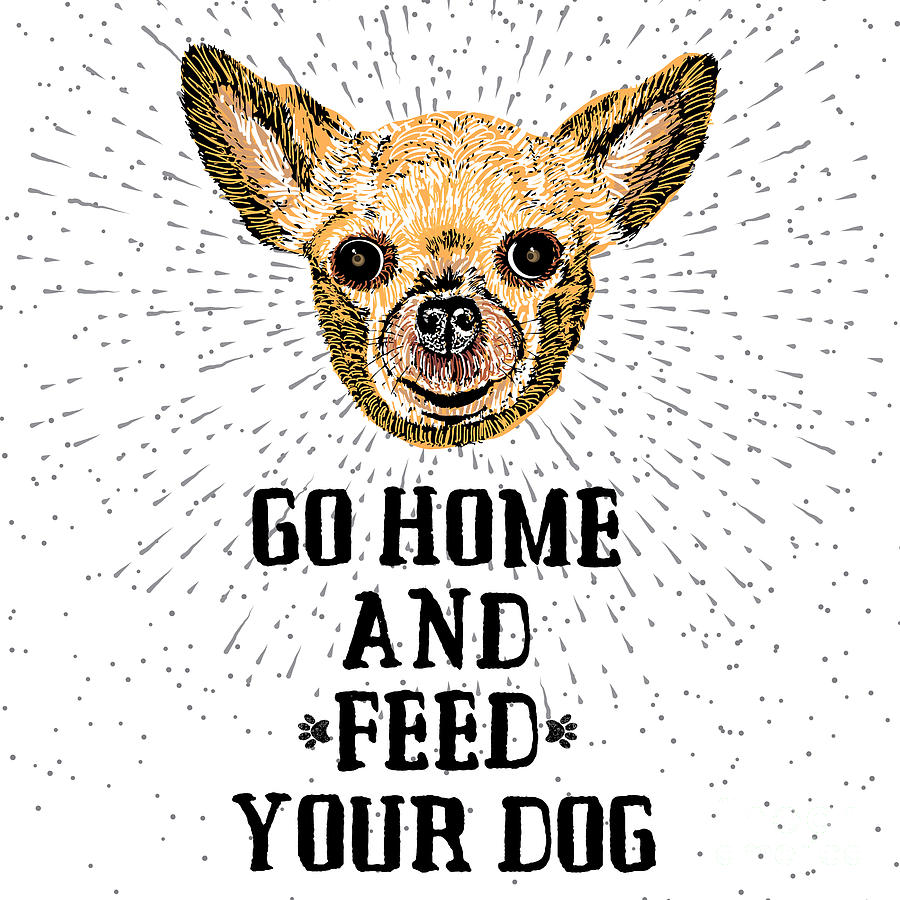 Sparkle Digital Art - Go Home And Feed Your Dog. Sign With by Golden Shrimp