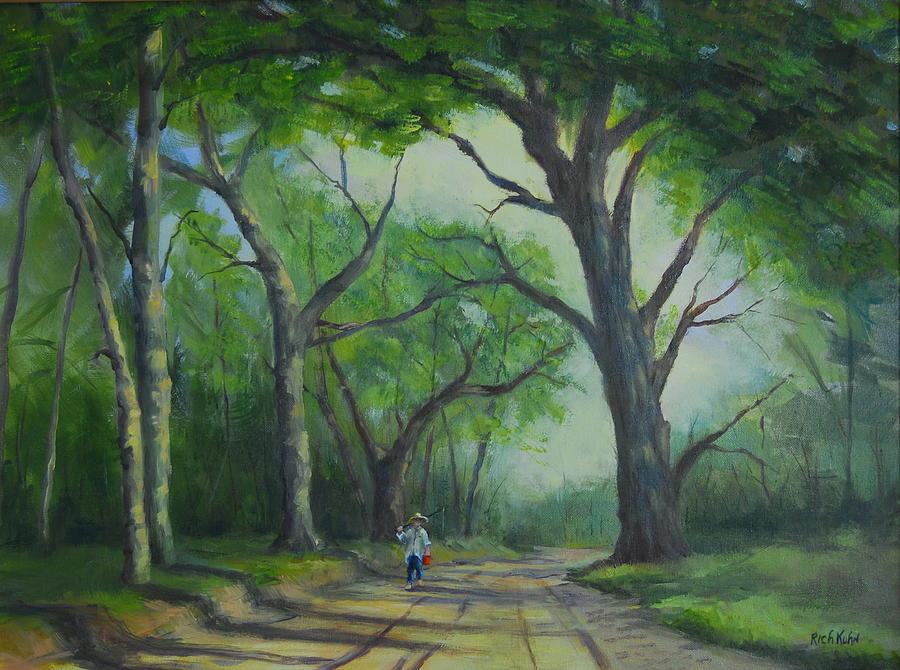 Country Road Painting - Go In Fishin by Rich Kuhn
