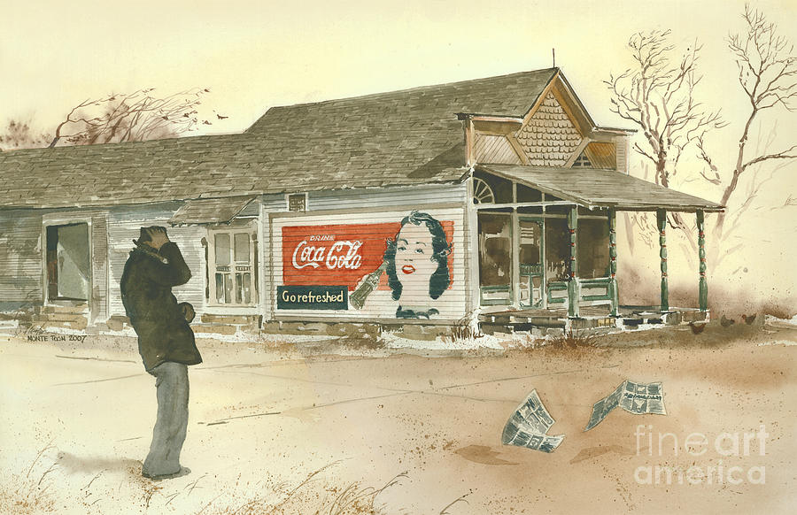 Landscape Showing A Man Hanging Onto His Hat As He Braces Against A Gust Of Wind Near A Small Town Grocery Store.  The Coca Cola Sign Painted On The Side Of The Store Beckons Him To go Refreshed.  Painting - Go Refreshed by Monte Toon