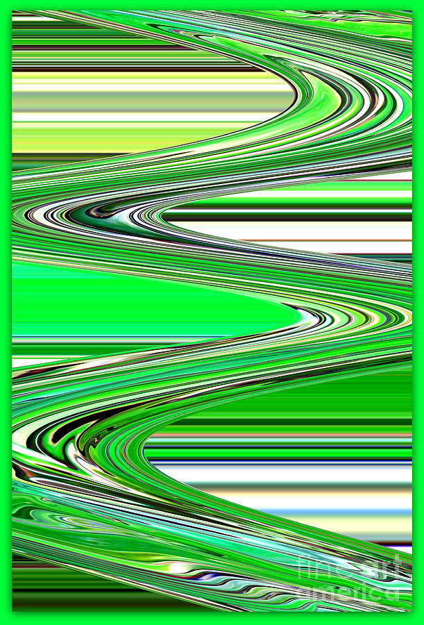 Green Abstract Photograph - Go With The Flow by Carol Groenen