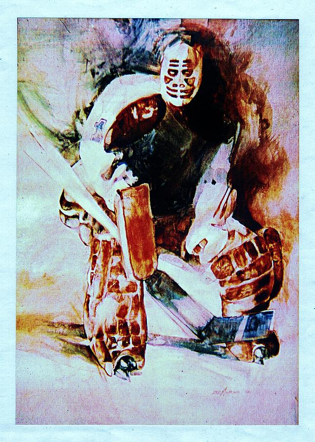 Hockey Painting - Goalie by Dale Michels