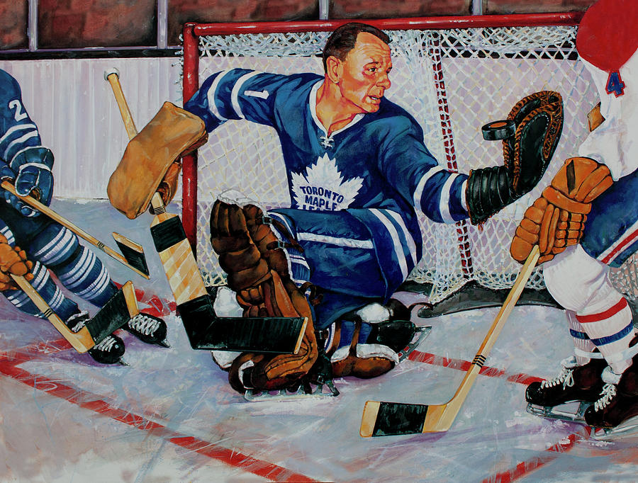 Hockey Painting - Goaltender by Derrick Higgins