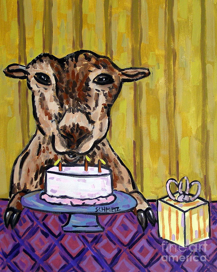 Cake Painting - Goat At The Birthday Party by Jay  Schmetz
