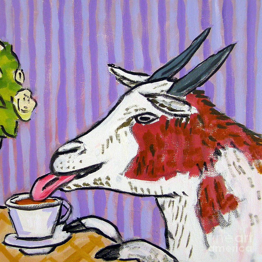 Goat Painting - Goat At The Cafe by Jay  Schmetz