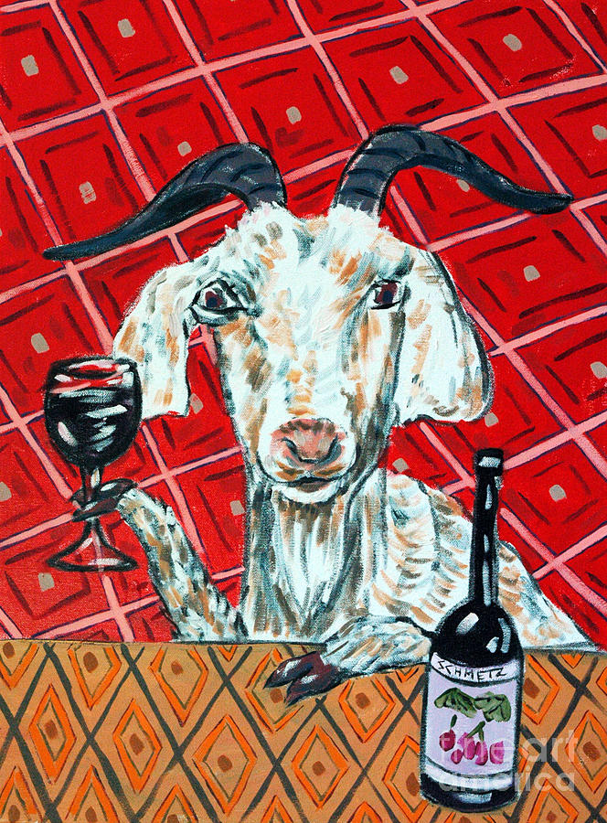 Goat Painting - Goat At The Wine Tasting by Jay  Schmetz