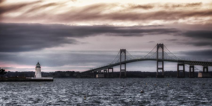 Goat Island Lighthouse And Newport Bridge Photograph