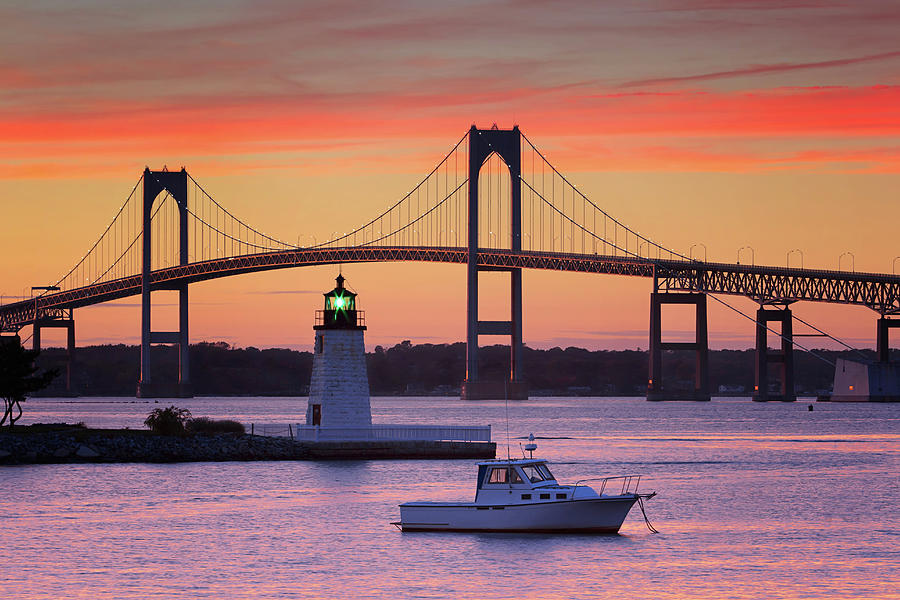 Goat Island Lighthouse And Newport Photograph by Katherine Gendreau Photography