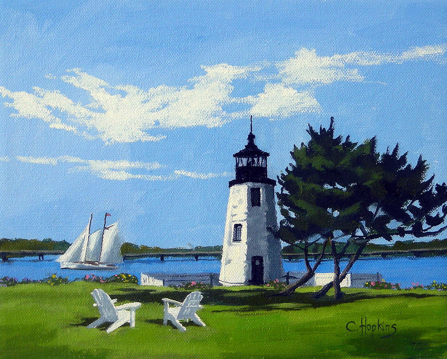 Goat Island Lighthouse Newport Rhode Island Painting By