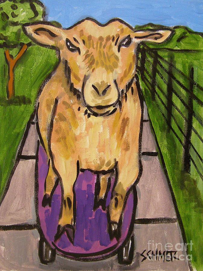 Goat Painting - Goat Skateboarding by Jay  Schmetz