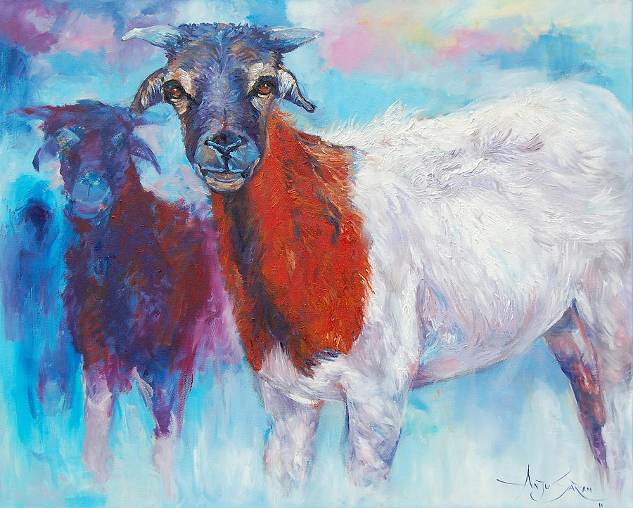 Animals Painting - Goats by Anju Saran