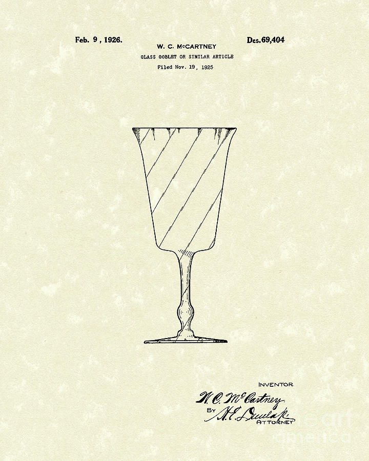 Mccartney Drawing - Goblet 1926 Patent Art by Prior Art Design