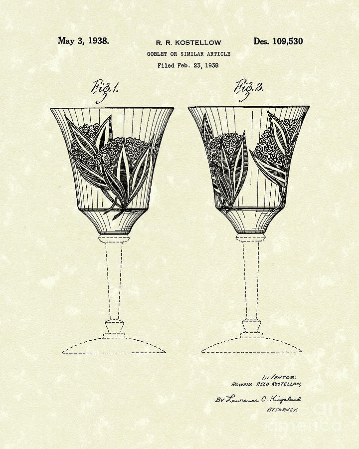 1938 Drawing - Goblet 1938 Patent Art by Prior Art Design