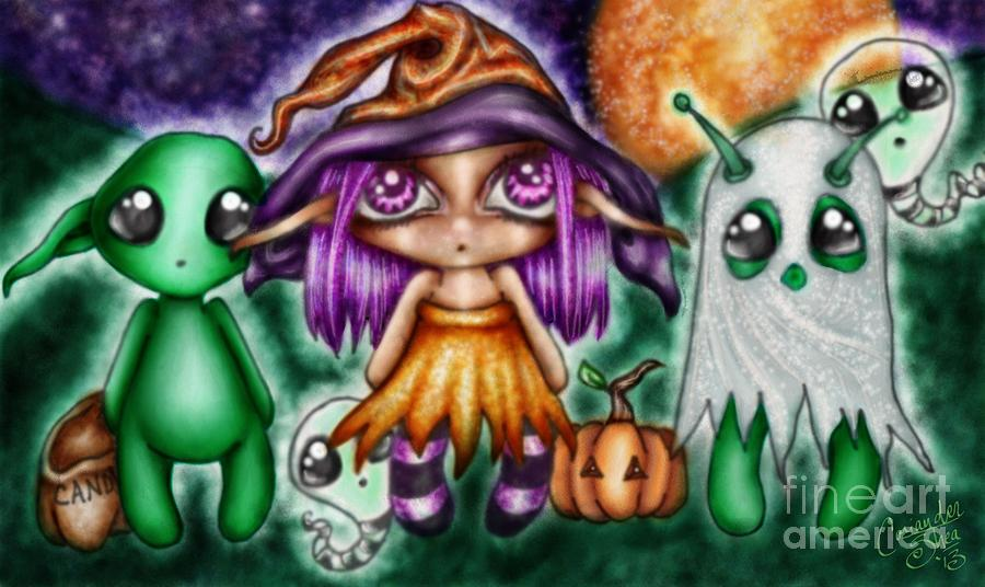 Whimsies Digital Art - Goblins Witches And Scares Oh My by Coriander  Shea
