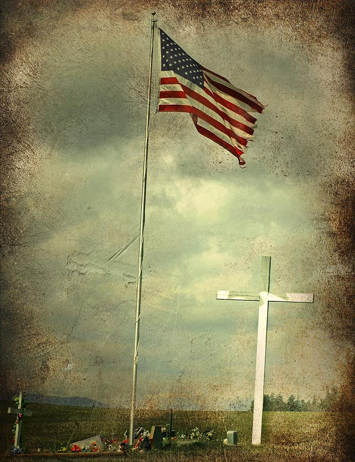 Cross Photograph - God And Country by Doug Fredericks