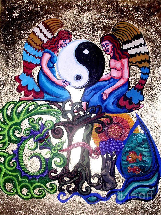 God And Gaia Painting - God And Gaia by Genevieve Esson