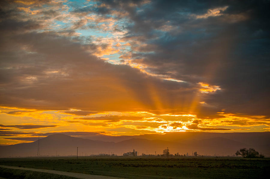 Bakersfield Photograph - God Beams And Sunrise by Connie Cooper-Edwards