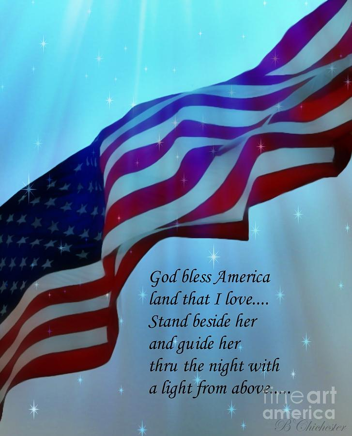 American Flag Digital Art - God Bless America by Barbara Chichester