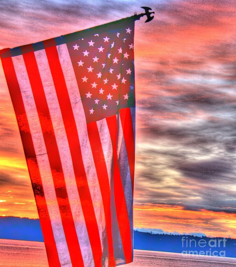 God Bless America Over Puget Sound Photograph
