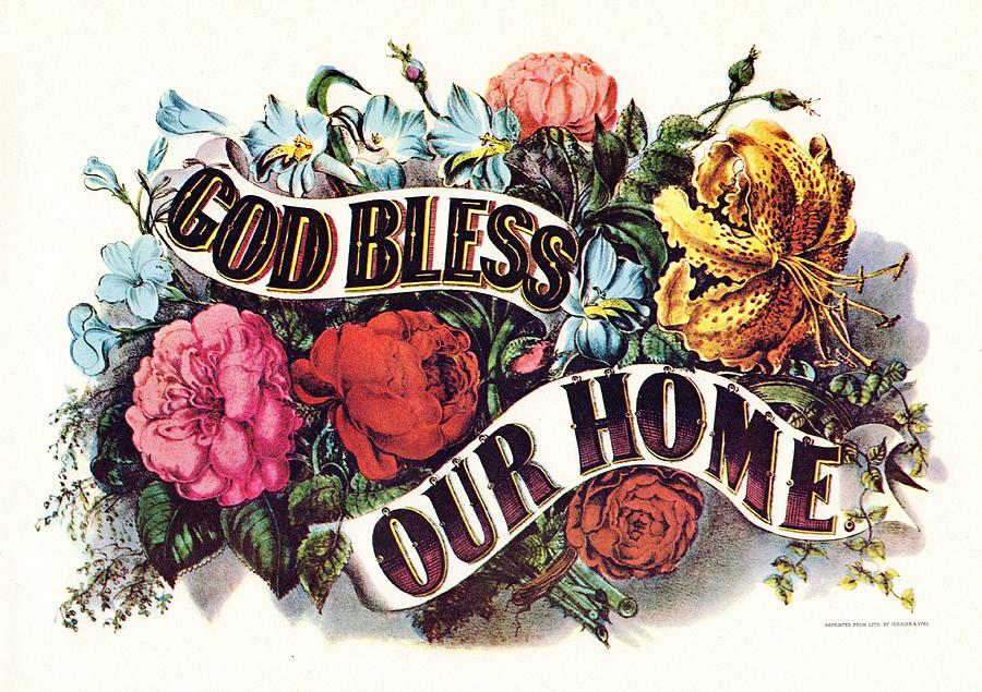 Fresh God Bless Our Home Digital Art by Currier and Ives KE94