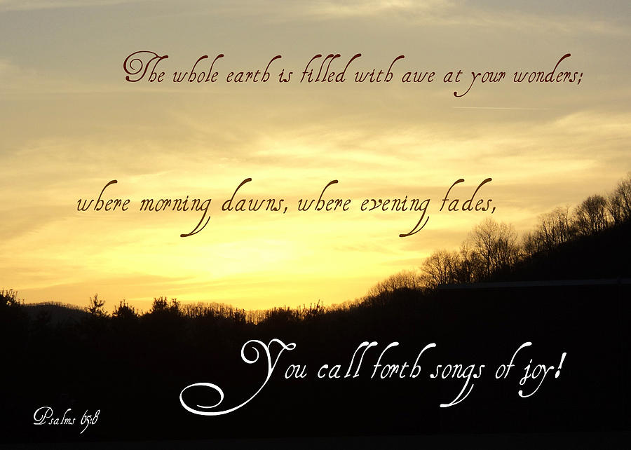 Scripture Photograph - God Calls Forth Songs Of Joy by Paula Tohline Calhoun