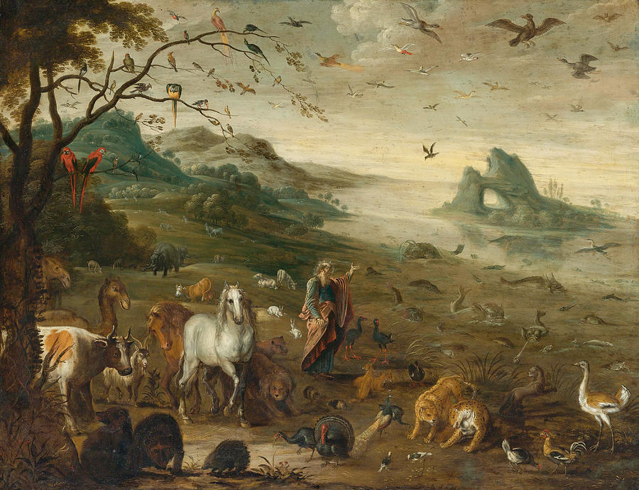 God creating the animals of the world painting by isaac for Creating a mural