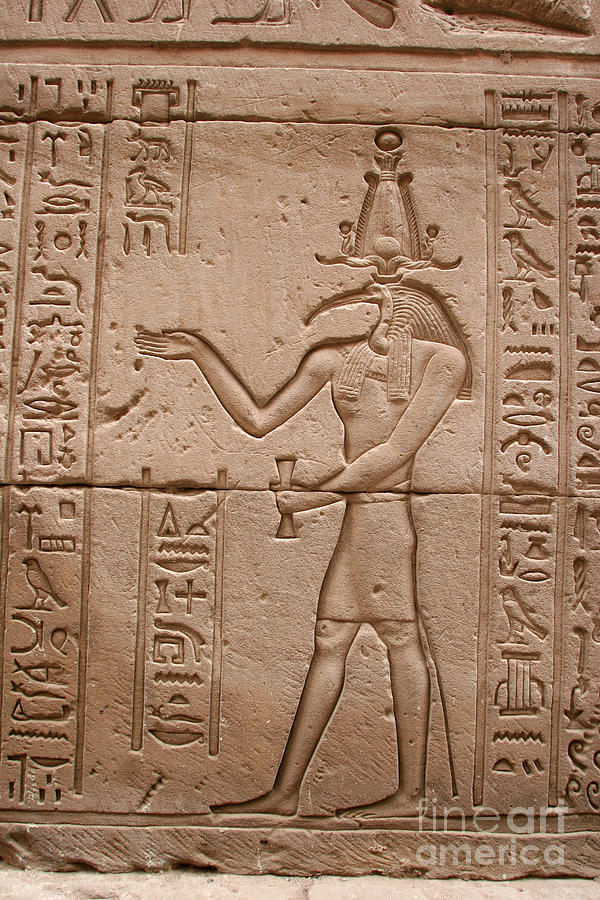 Temple Of Horus Photograph - God Of Wisdom Relief by Stephen & Donna OMeara