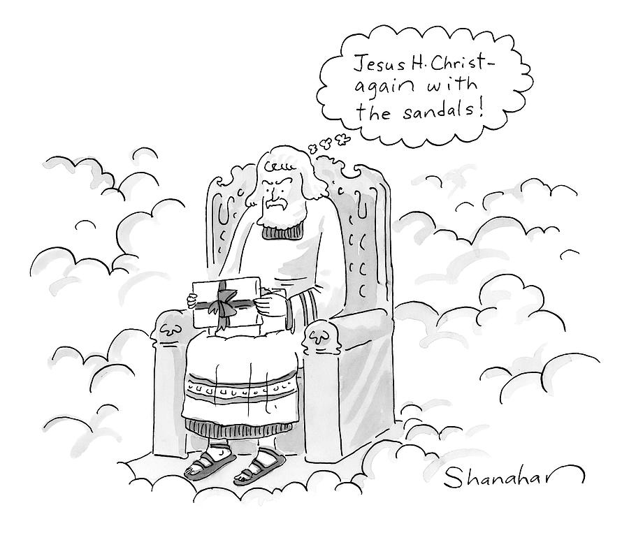 God Opens A Gift And Complains About Receiving Drawing by Danny Shanahan