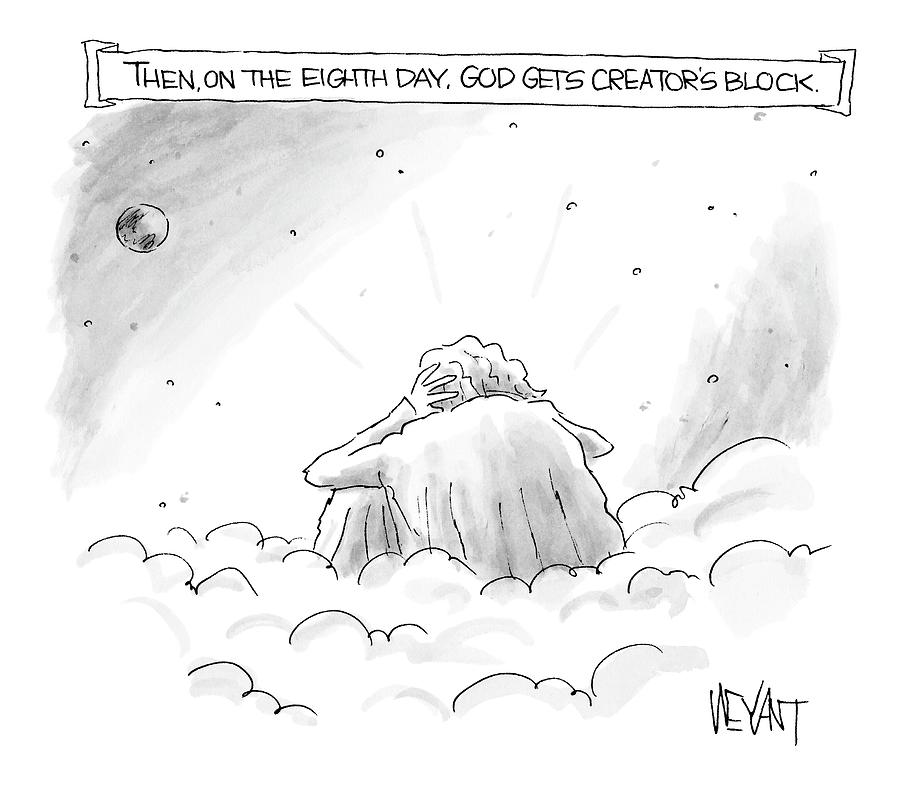 God Sits In A Space Cloud Looking At The Earth Drawing by Christopher Weyant