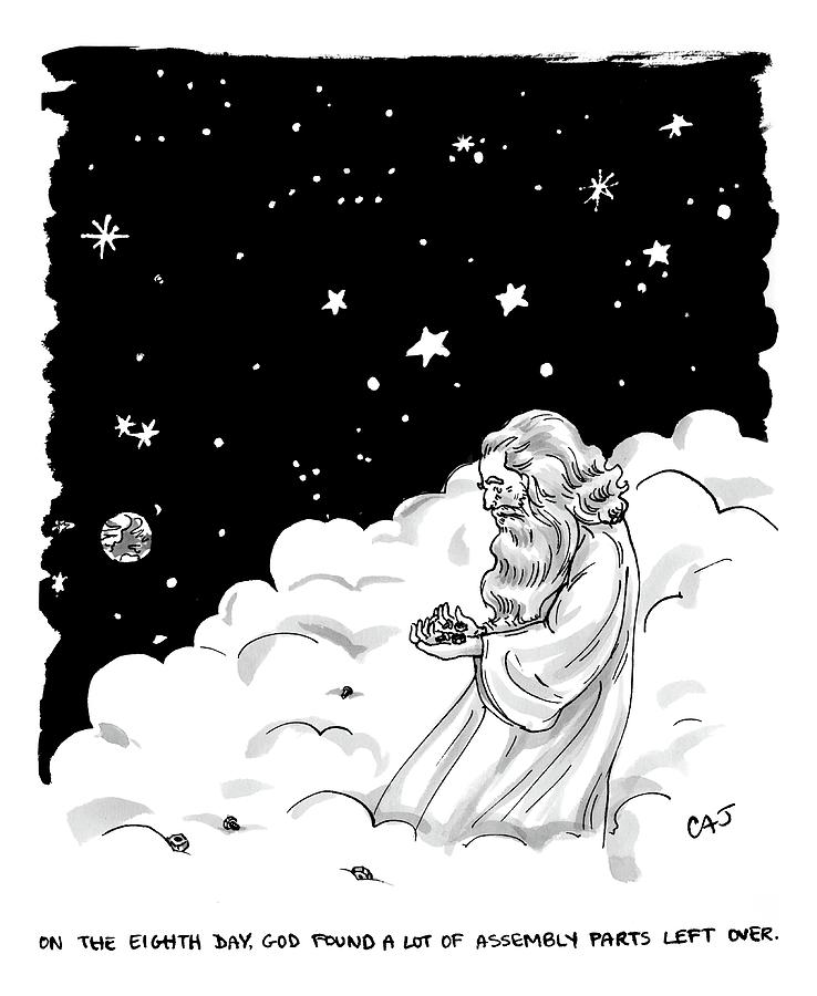 God Stands In A Cloud Formation In Space Drawing by Carolita Johnson