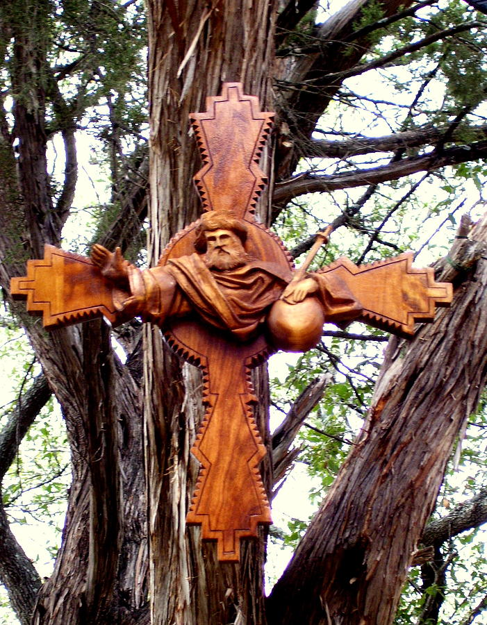 Cross Sculpture - God the Father Cross by Michael Pasko