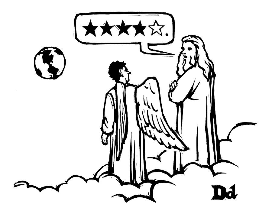 God To An Angel On A Cloud Overlooking Earth Drawing by Drew Dernavich