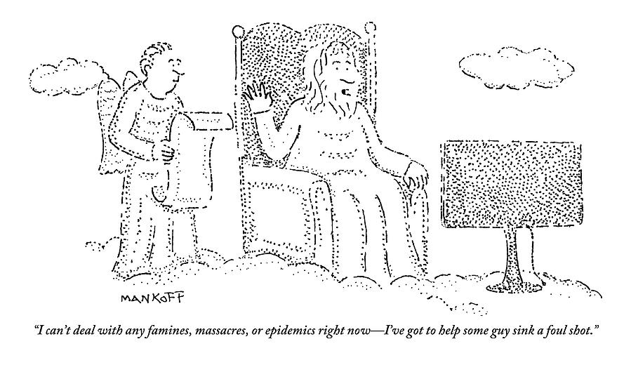 God Drawing - God Watches A Flat-screen Tv by Robert Mankoff