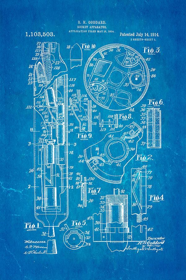 Goddard rocket patent art 1914 blueprint photograph by ian monk aviation photograph goddard rocket patent art 1914 blueprint by ian monk malvernweather Choice Image