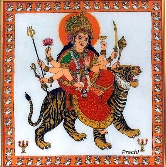 Indian Painting - Goddess Durga by Prachi Arora