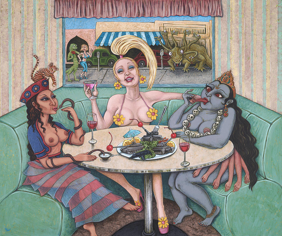 Goddesses Painting - Goddess Lunch by Holly Wood