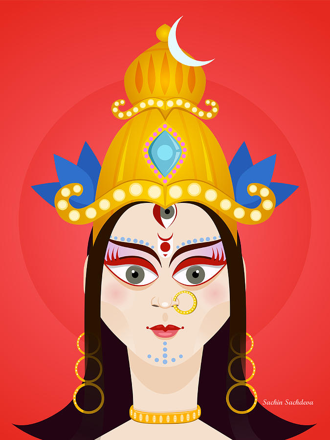 Durga Digital Art - Goddess Maa Durga by Sachin Sachdeva