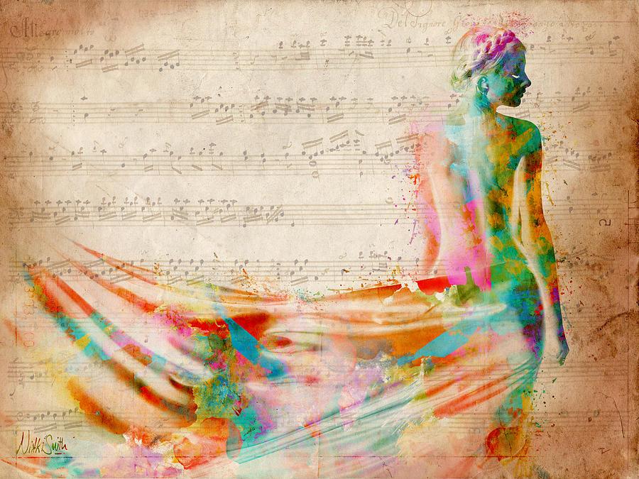 Mozart Digital Art - Goddess of Music by Nikki Smith