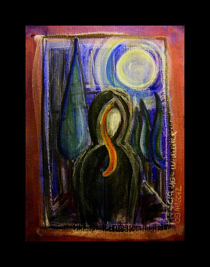 Goddess Painting - Goddess Under The Cypress Moon by Mimulux patricia no No