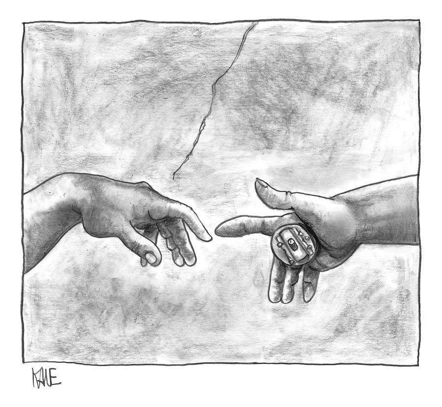 Gods Hand Touching Adams Hand A La Sistine Drawing by John Kane
