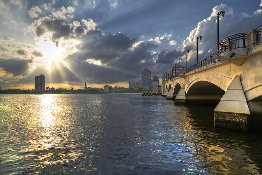 Clouds Photograph - Gods Light Over West Palm Beach by Debra and Dave Vanderlaan
