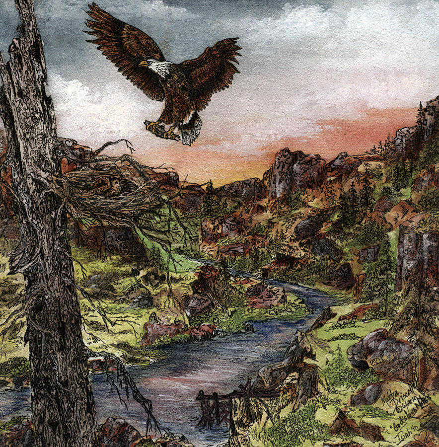 Eagle Painting - Gods Love Notes Hide And Seek by Meldra Driscoll