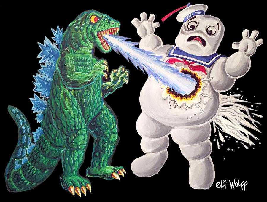 Godzilla Painting - Godzilla Vs Stay Puft by Eli Wolff