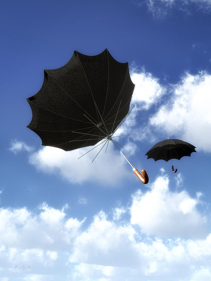 Umbrella Photograph - Going Down Fast And Slow by Bob Orsillo
