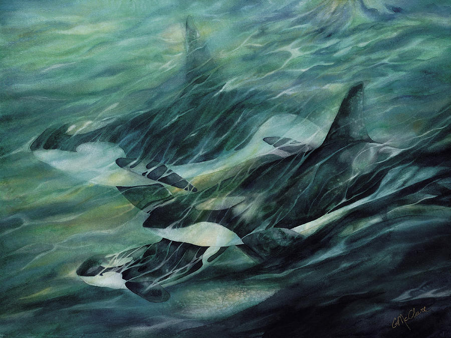 Killer Whale Painting - Going Home by Connie Ely McClure