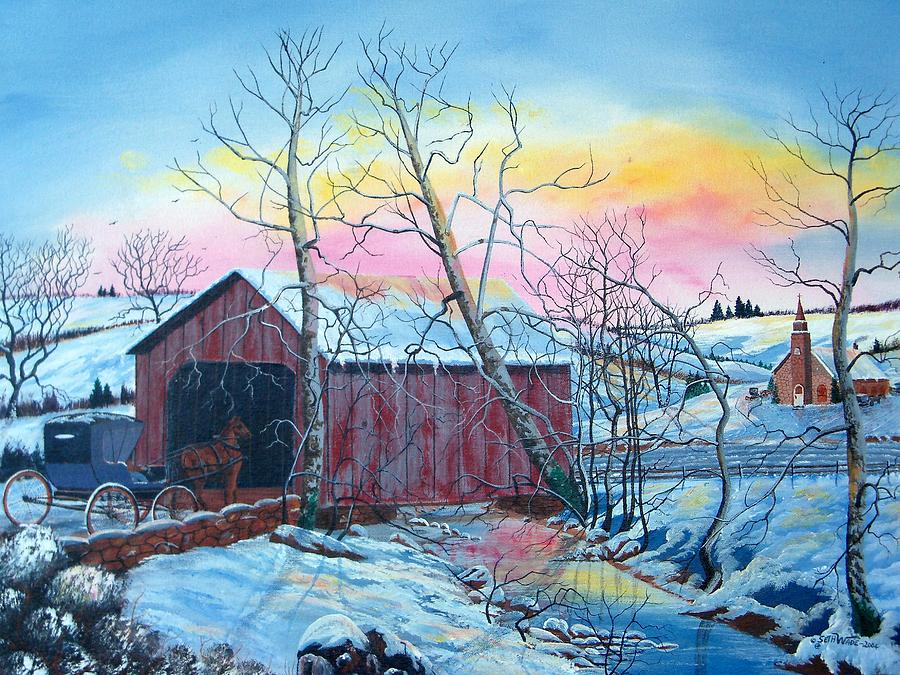 Snowy Landscape Painting - Going Home by Seth Wade