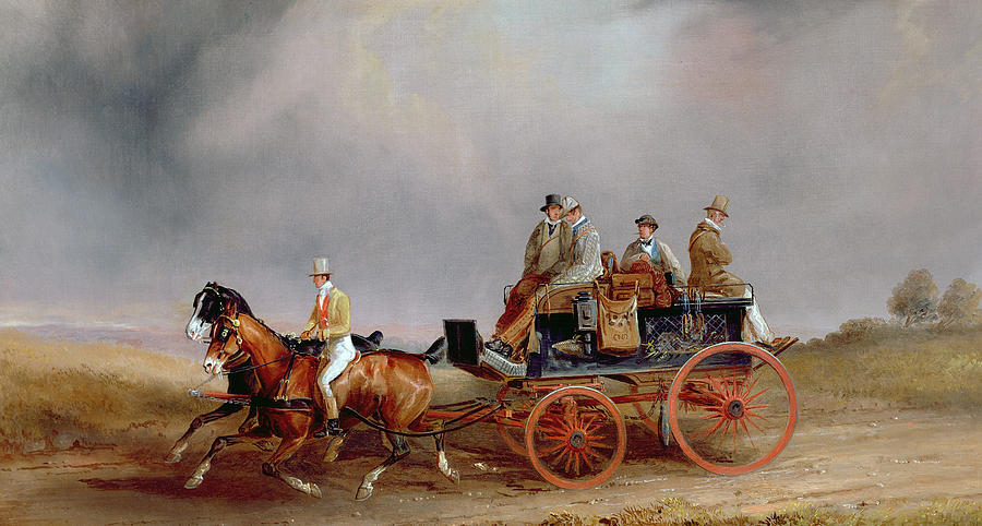 Going Shooting A Postillion And Pair With A Game Cart Painting by Charles Cooper Henderson