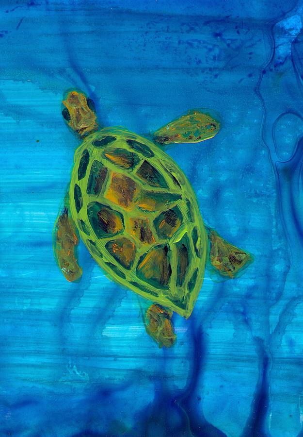 Turtle Painting - Going Up For Air by Wanda Pepin