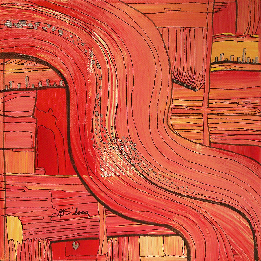 Abstract Painting - Going With The Flow by Mtnwoman Silver