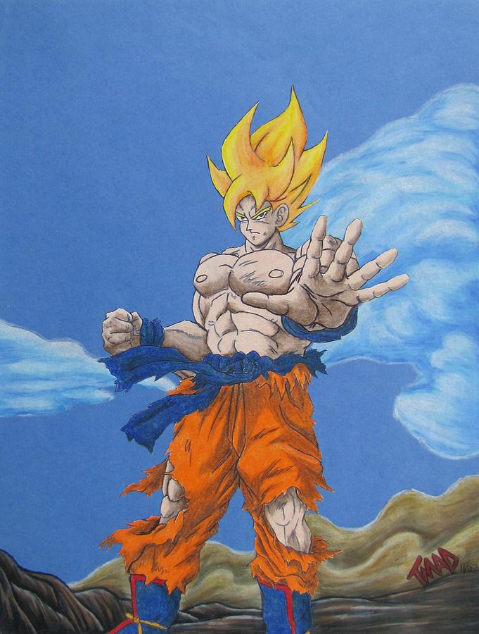 Goku Drawing - Goku by Michael  TMAD Finney