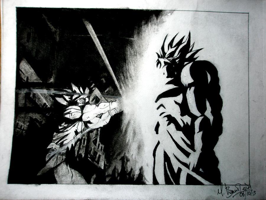 Dragon Ball Z Drawing - Goku Vs. Broly by Bhanu Teja Mamidala